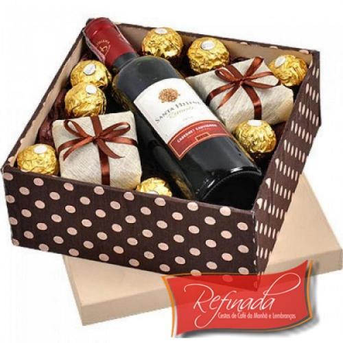Caixa de Vinho e Chocolate R$ 229,00